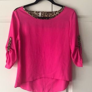 Bright pink chiffon blouse with leopard